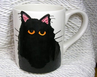 Black Cat Mug Handpainted by GMS Earthenware Ceramic Clay Kiln Fired