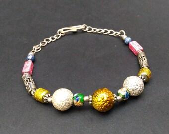 "Beaded Bracelet .925 Silver Overlay Bracelet 8"" 10.00 gms."