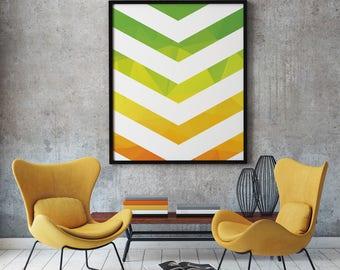 Green Chevron Print, Yellow Chevron Print, Orange Chevron Poster, Geometric Print, Modern Print, Large Wall Art, Home Wall Art, A2 Print