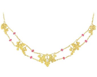Drapery necklace antique gold spinel