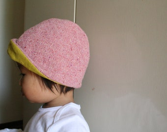 GIRLS WOOL HAT / pink tweed / baby / childrens hat / wool hat / wool beanie / wool cloche / eco friendly / made in australia / pamelatang