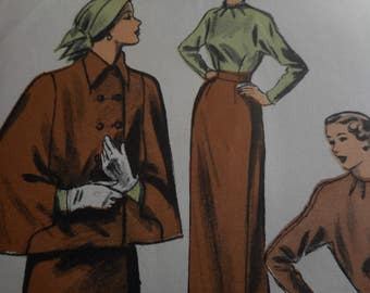 SALE Vintage 1940's Advance 5311 Cape, Skirt and Blouse Sewing Pattern, Size 16 Bust 34