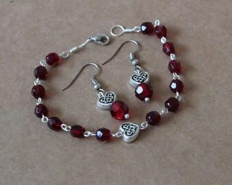 Red heart celtic bracelet and earring set