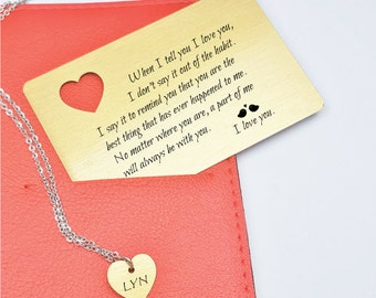 wallet insert card with Heart Cut Out necklace,Engraved Wallet Card,Personalized Wallet Card, Wallet Insert,Christmas gift Wallet Insert