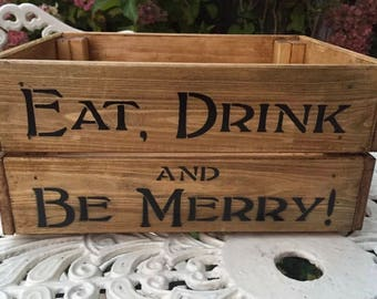 Vintage Style Wooden Christmas Eve Box Crate Storage Gift Eat, Drink & Be Merry Christmas Hamper Box Gift Home