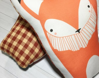 Plush Fox Pillow, Fox Nursery Pillow, Orange Fox Pillow