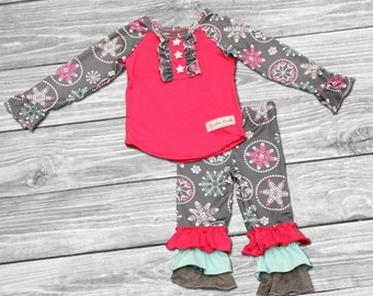 snowflake outfit-baby girls boutique clothing-girls snowflake outfit- girls clothing-girls boutique sets-Snowflake Scene