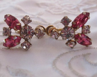 Vintage 12K Gold Filled Screw Back Earrings with Pink and Clear Faceted Rhinestones
