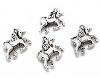 10 charms silver unicorn matte 23x16mm
