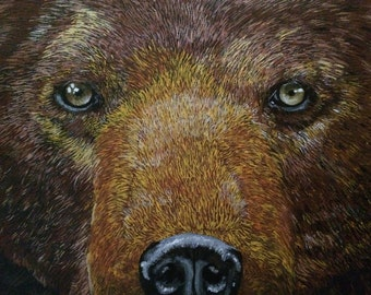 Bear Stare....a fine art painting with a twist
