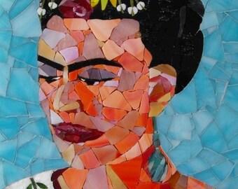 Frida Kahlo - Mosaic Stained Glass Portrait