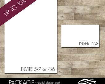 Professionally printed invitations and one set of inserts (Discounted - UP to 10% OFF!!)