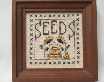 Seeds With Beehive And Sunflowers Cross Stitch Framed Primitive Mini Picture