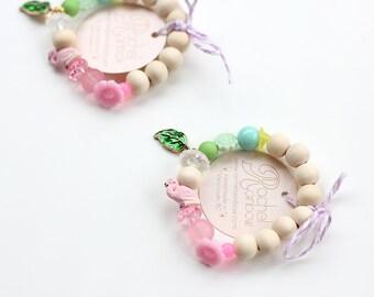 Kids Bracelet, Flamingo, Tropical, Beaded Bracelet, Gift For Kids