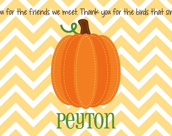 Personalized Placemat - Kids Placemat - Childrens Placemat - Pumpkin Placemat - Fall Harvest Placemat