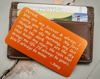 Engraved Wallet Card, Personalized Wallet Card, Custom Wallet Insert: Valentine's, Anniversary, Wedding Day Gift for Him, Stocking Stuffer