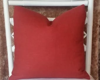 Henna Red Brick Red Solid Color Linen Blend Pillow Cover