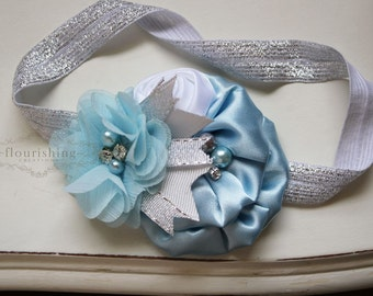 Cinderella Inspired headband, silver flower headbands, blue headbands, baby headbands, newborn headbands, photography prop