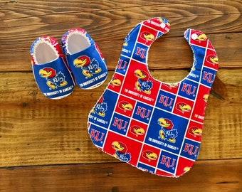 Kansas University Bib and Baby Slippers/Crib Shoes Combo, Collegiate Shower Gift