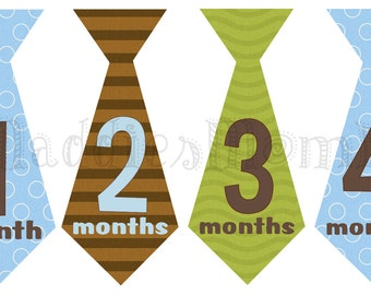 Monthly Baby Boy Tie Stickers, Baby Month Stickers, Monthly Bodysuit Sticker, Monthly Stickers, Milesone Stickers (Tyler)