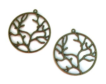 16 Antiqued Bronze Tree Branch Charms 43 x 40mm