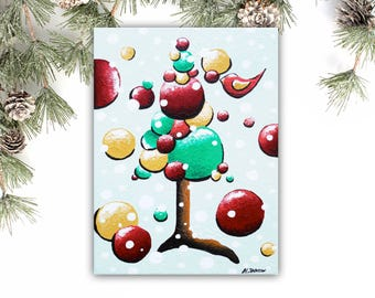 Christmas Tree Art Christmas Gift, Whimsical Tree Original Acrylic Painting, Christmas Wall Decor, Kids Room Decor