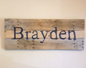Name sign,36x15,Head Board,pallet art,rustic name sign,use any name,name art,boys name,girls name,custom pallet sign