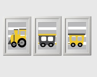 train nursery wall art prints, set of 3 prints shipped, color customized, yellow and gray train prints, red blue train wall decor, trains