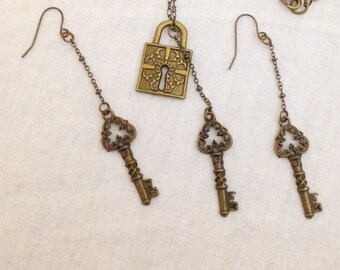 Bronze lock and keys necklace and earrings set