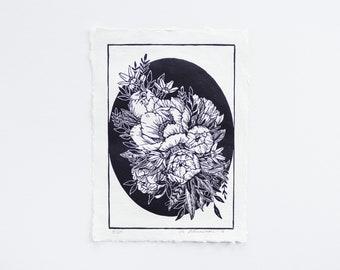 """Original handmade linocut block print """"Peonies"""" on recycled paper"""
