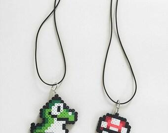Mario Necklace Pixels Perler Bead Sprites
