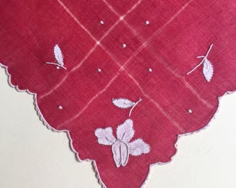 Vintage Red Handkerchief  with Pink Flowers