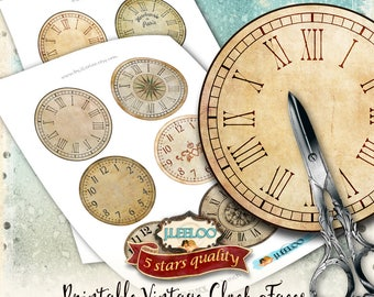 VINTAGE CLOCK 3 inch 3,5 inch circle printable clock faces - grunge dirty antique for pendant magnet and craft instant download diy - tn567