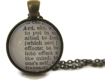 ACT Definition Necklace, Dictionary Necklace, Bronze or Silver