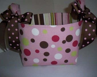 Pink Brown Polka Dots Stripes Storage Bin / Fabric Basket / Small Diaper Caddy- Personalization Available