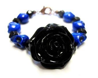 Blue Sugar Skull Bracelet, Day of The Dead Strand Bracelet Black Rose Jewelry