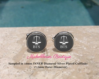 Scales of Justice Personalized Mens Cufflinks,Scales of Justice Cufflinks,Monogram Mens Cufflinks,Lawyer,Attorney,Gray, MB307