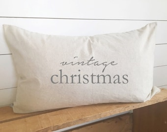 Vintage Christmas Kidney Pillow Cover 16 x 26 // Christmas / Holiday / Vintage / Accent Pillow / Throw Pillow / Gift