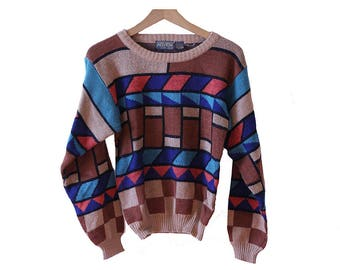 Vintage 80's Kids Sweater with Geometric Print