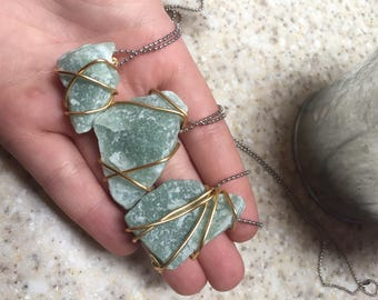 Aventurine Wire Wrapped Crystal Necklace