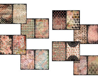 Floral Journals - Polished Lackluster Filler Add On - 8 Journal Pages -  digital paper packs, grungy digital pages, lined notebook
