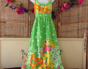 Beautiful Vintage Malia Liberty House Hawaiian Maxi Dress Sz Small