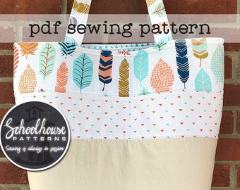Patchwork Tote Bag Large handbag purse diaper bag - sewing tutorial pattern - PDF INSTANT DOWNLOAD