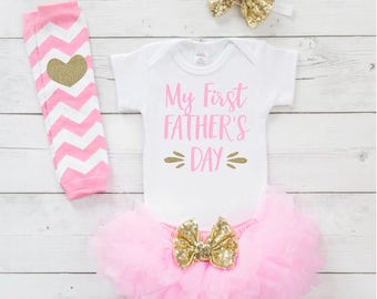 First Fathers Day, My First Father's Day Shirt, Father's Day Baby Girl Clothes, Fathers Day Gift from Baby 014S