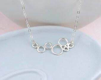 Silver Geometric Circles Necklace - Bubbles