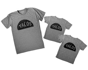 Father Child Taco Tuesday Shirts, 3 SHIRTS, matching family shirts, fathers day gift for dad and baby father son, daughter dad matching