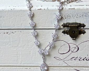 Crystal Necklace, Pearl Drop Necklace, Bridal Necklace, Rose Gold, Rhodium, Gold necklace, Bridal Jewelry, HAYLEY Crystal
