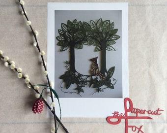 papercut Forest Fox poster