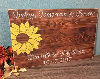 Rustic Wedding Guestbook • Wood Guest Book Alternative • Rustic sunflower guestbook • Wood Guest book • custom wood guestbook • 16.5x25