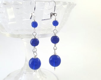 Cobalt Blue Glass Earrings - Long Dangle Earrings - Dark Blue Drop Earrings - Blue Glass Earrings - Beaded Earrings - Simple Wire Earrings